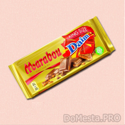 Шоколад молочный Marabou DAIM  с карамелью и кусочками миндаля, 250 г.