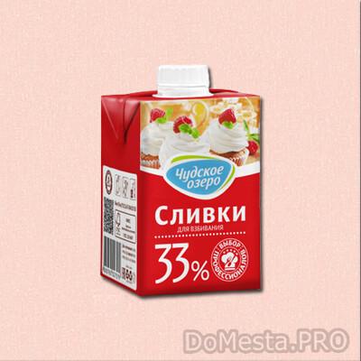 """Молочные сливки """"Чудское озеро"""" ультрапастеризованные жирные 33%, 500 мл"""