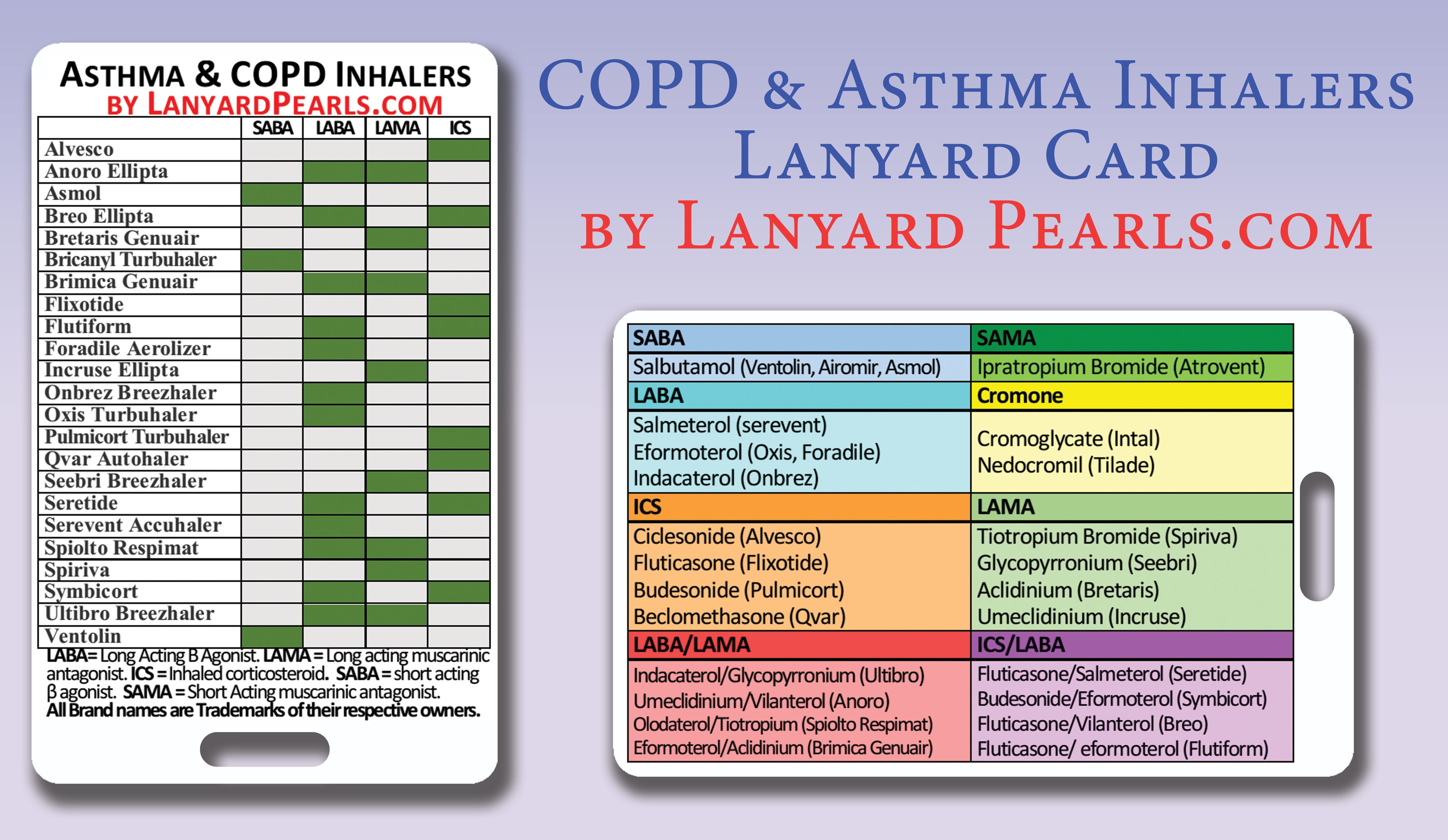 Copd And Asthma Inhaler Guide Lanyard Badge Card
