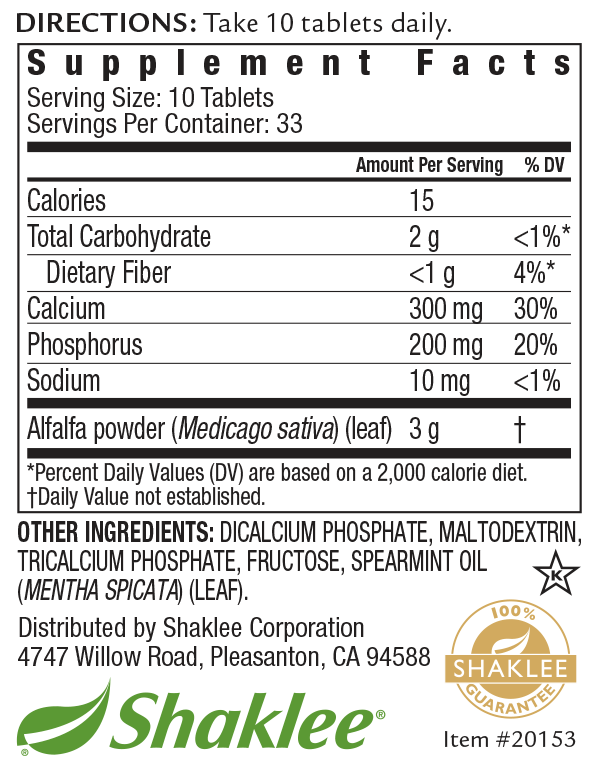 Alfalfa Complex 330 Tablet Label