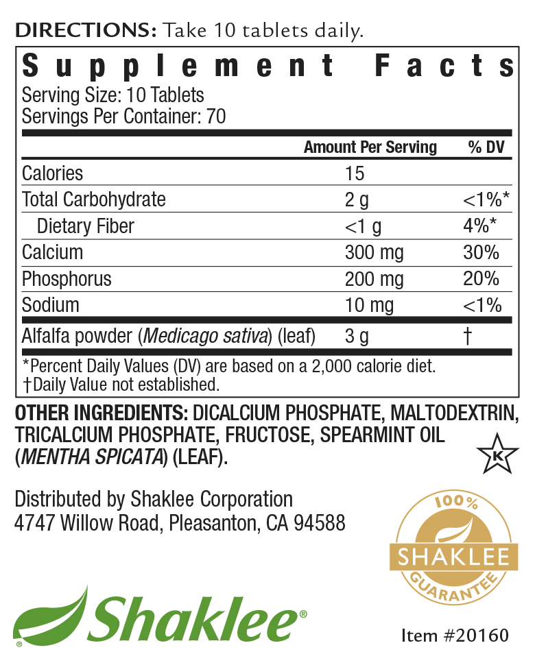 Alfalfa Complex 700 Tablet Label
