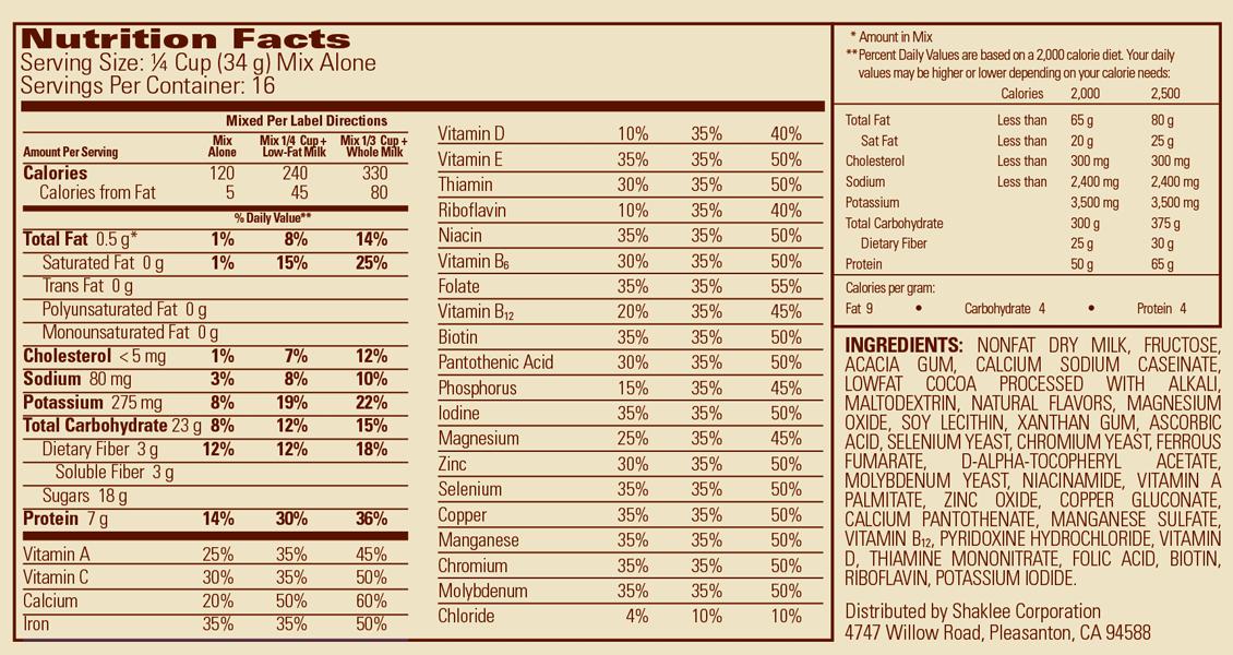Shaklee Meal Baverian Cocoa Vanilla Label