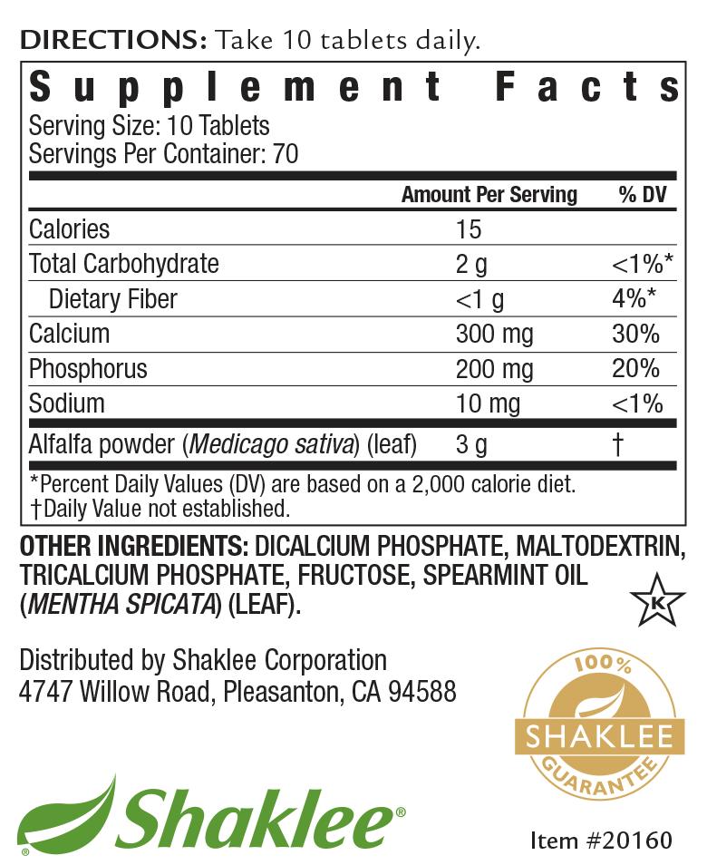 Alfalfa Complex Label 700 Tablets
