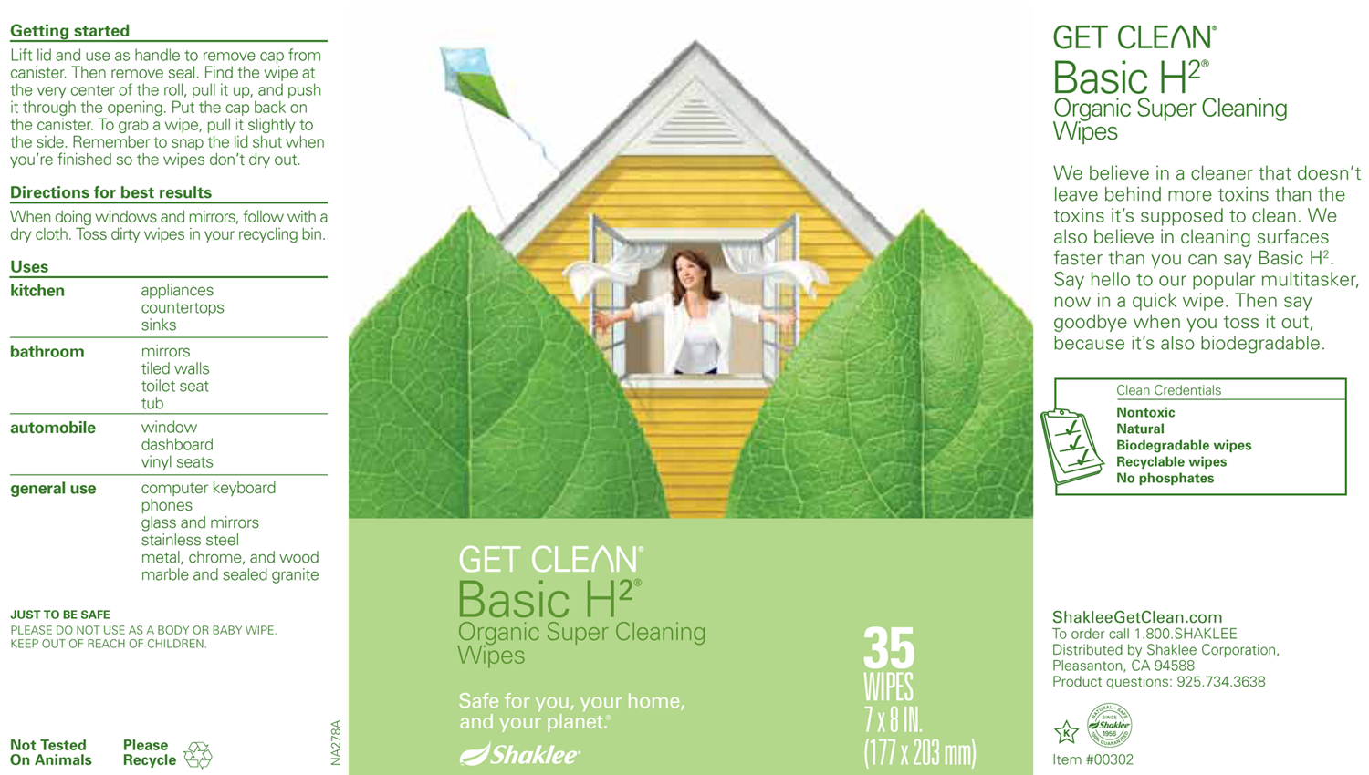 Basic H2 Cleaning Wipes Label