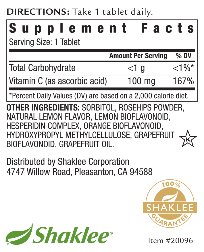 Chewable Vita-C 100mg Label