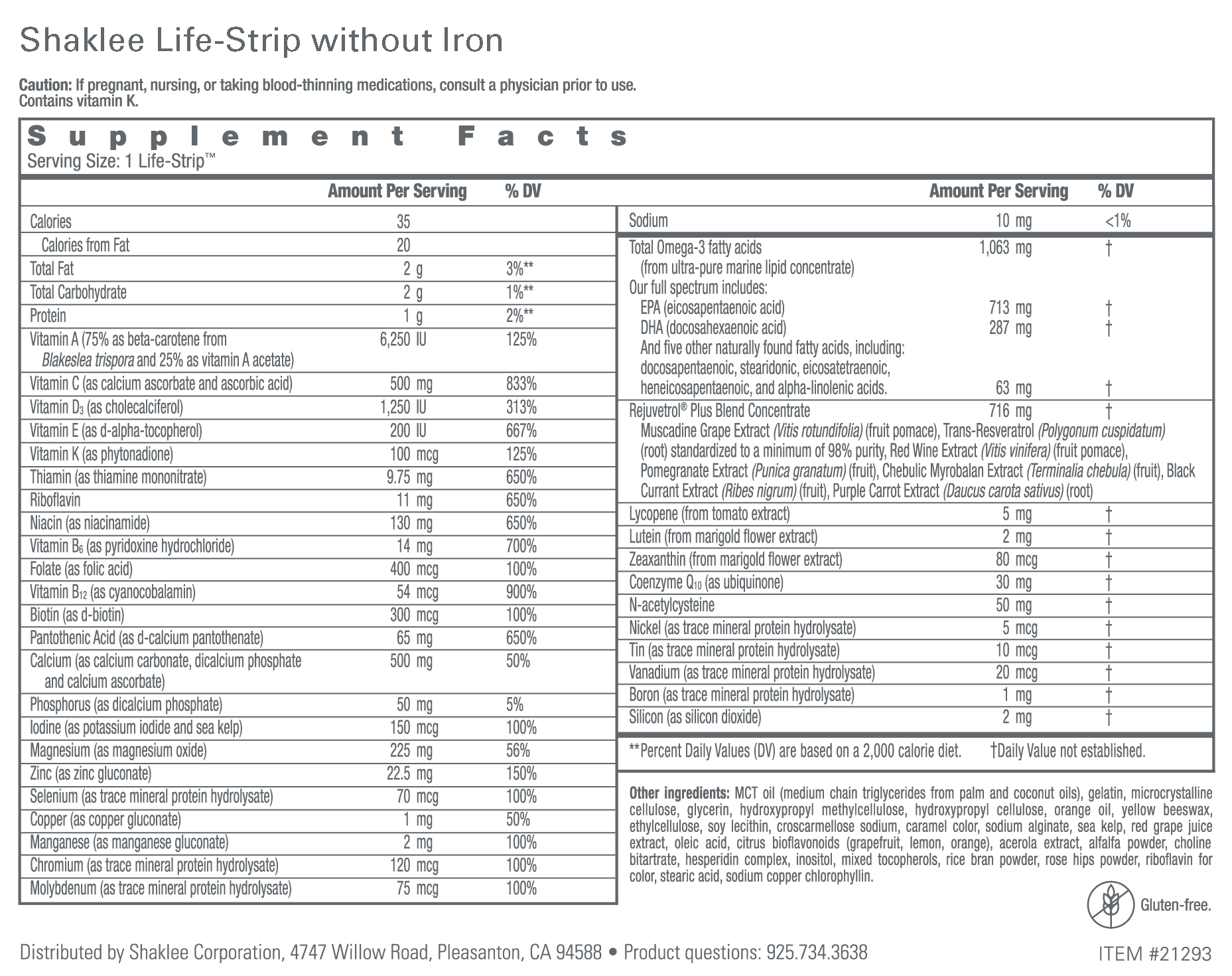 Shaklee Life-Strip without Iron Label