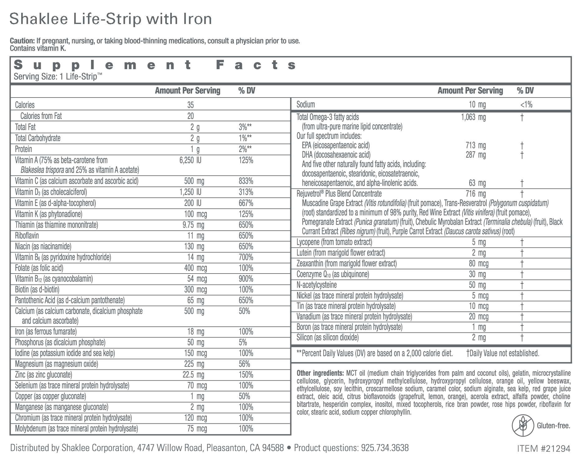 Shaklee Life-Strip Label