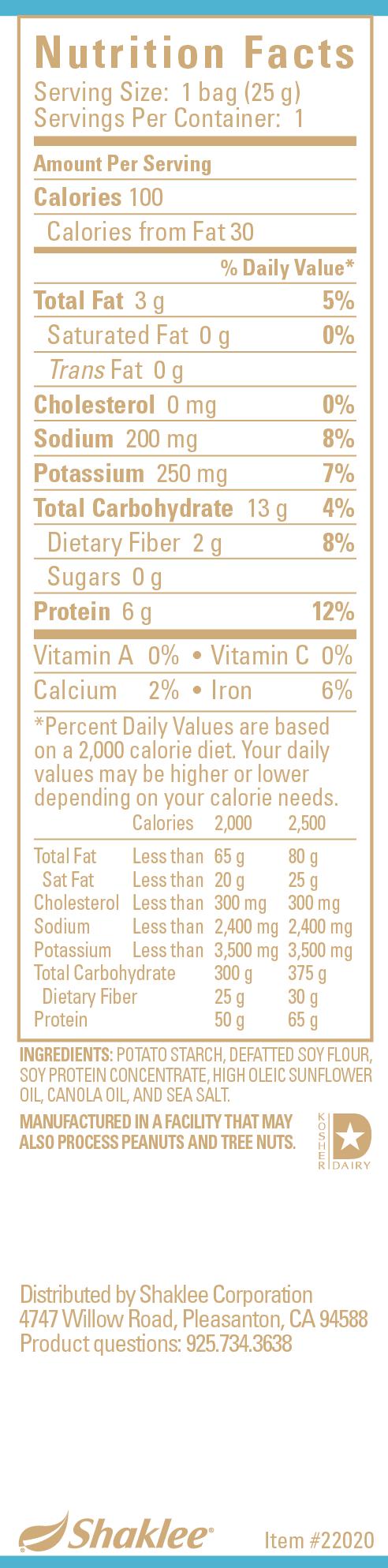 Snack Crisps, Sea Salt Label