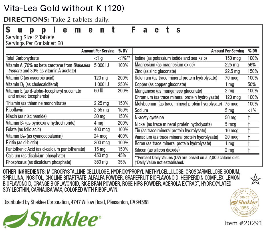 Vita-Lea Gold without K (Tablets 120) Label