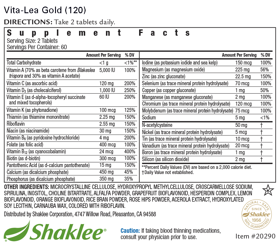 Vita-Lea Gold with K (Tablets 120) Label