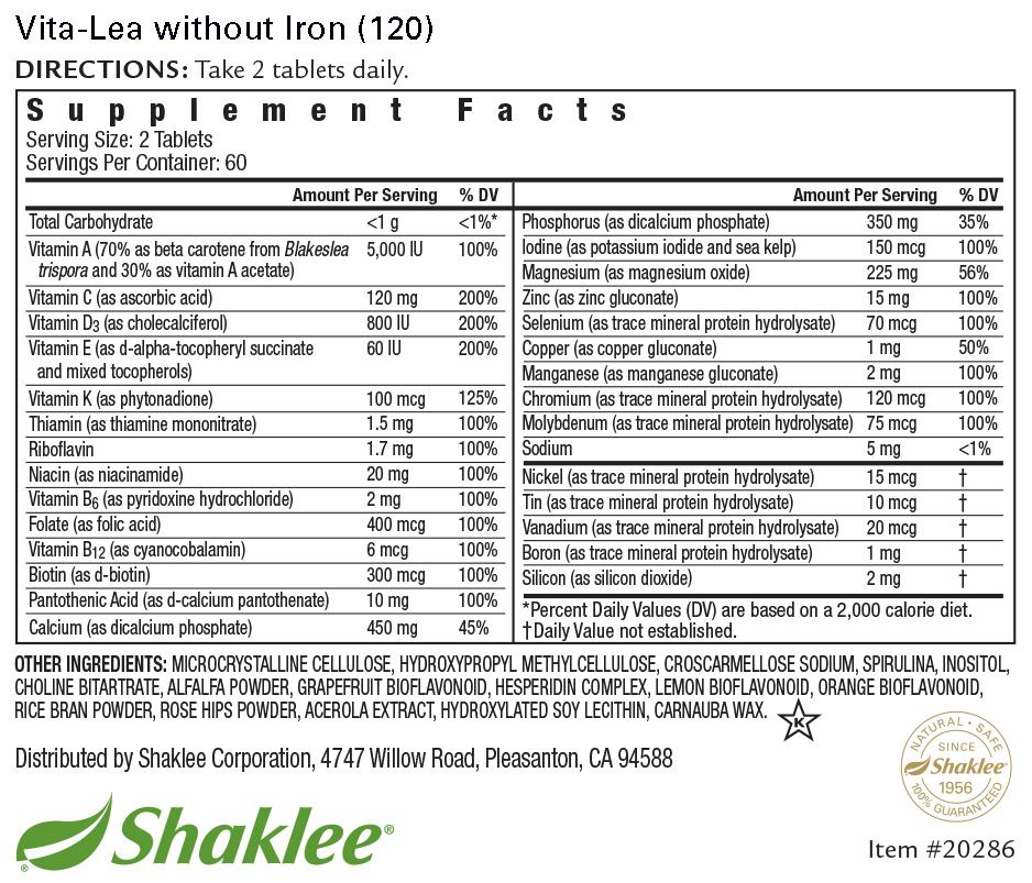 Vita-Lea without Iron Formula Label