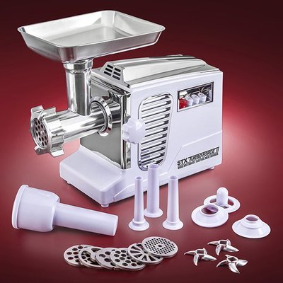 STX Turboforce II 4000 Series Electric Meat Grinder with Foot Pedal - Size #12 - WHITE 00024