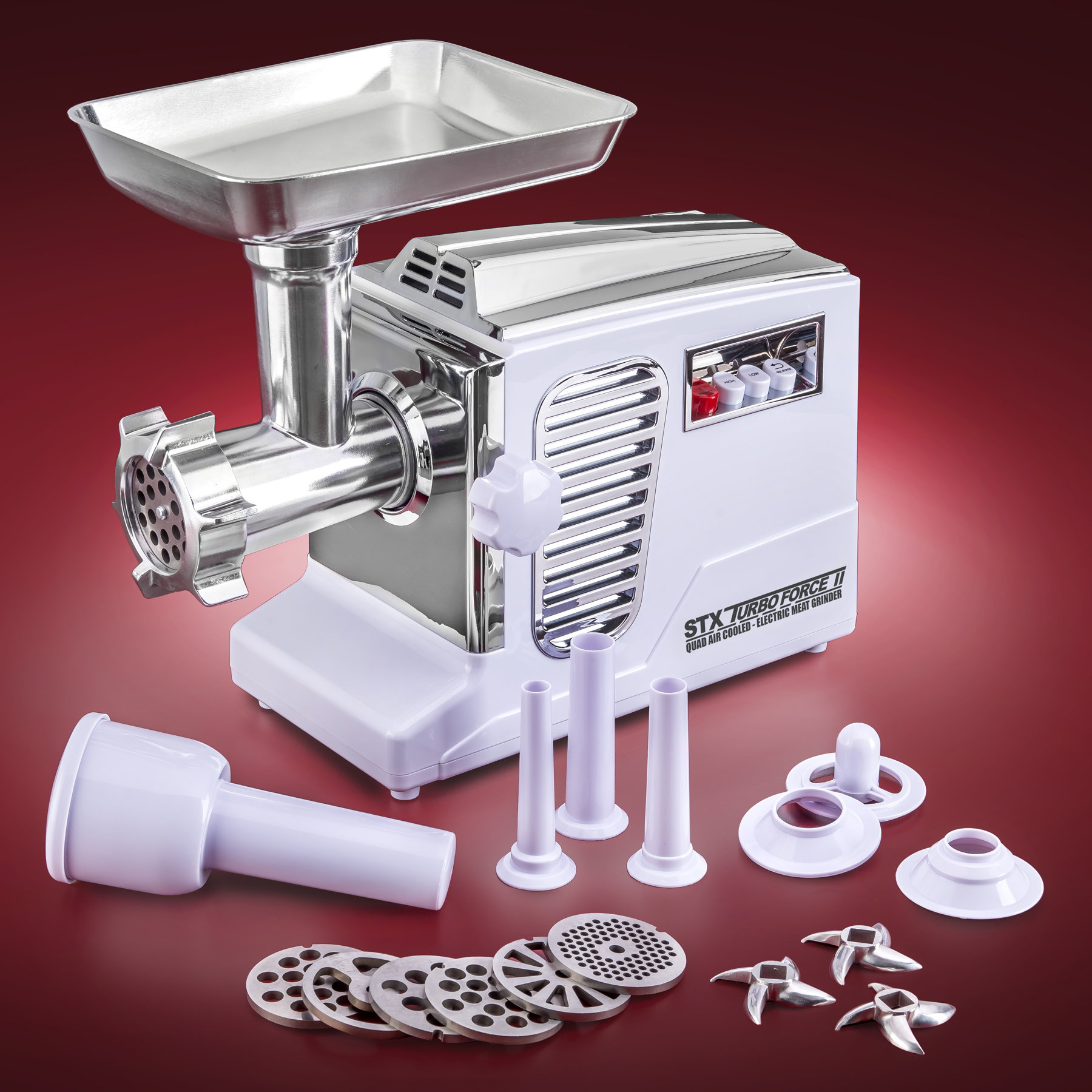 STX Turboforce II 4000 Series Electric Meat Grinder with Foot Pedal - Size #12 - WHITE