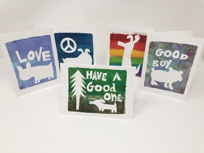 Set of 5 art print greeting cards produced from original mono prints designed by Silo Studios exclusively for Snooty Giggles Dog Rescue