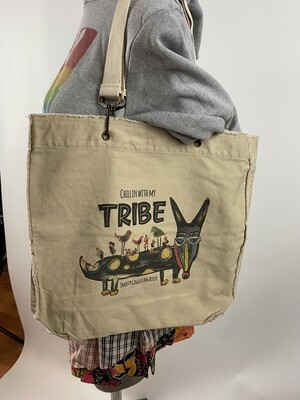 Chillin' With My Tribe Fringed Canvas Tote