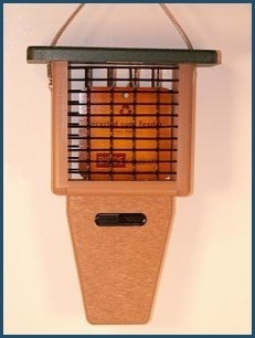 Recycled tail prop suet feeder