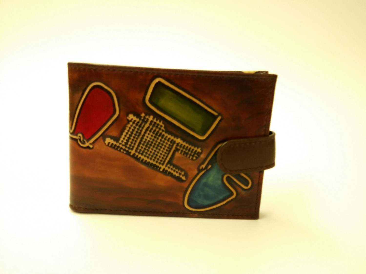 Handpainted bifold leather wallet