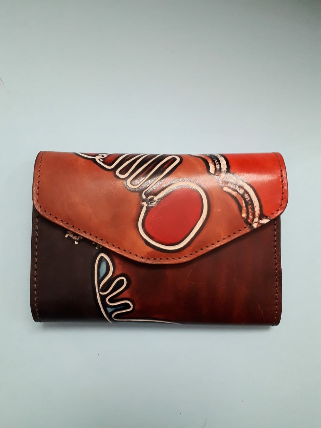 French purse ladies wallet handpainted leather
