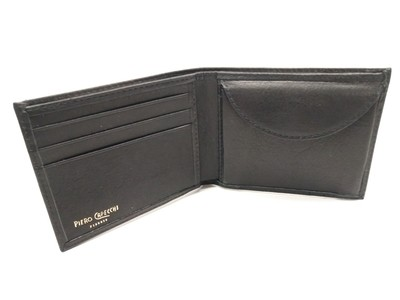 Slim leather wallet with coin purse