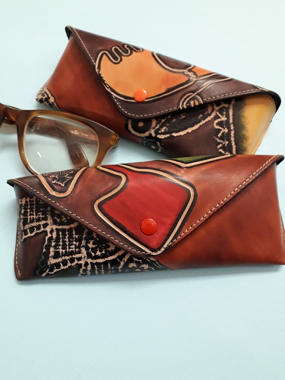 Handpainted leather eyeglass case