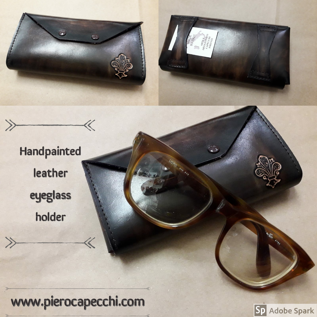 Handpainted leather eyeglass case