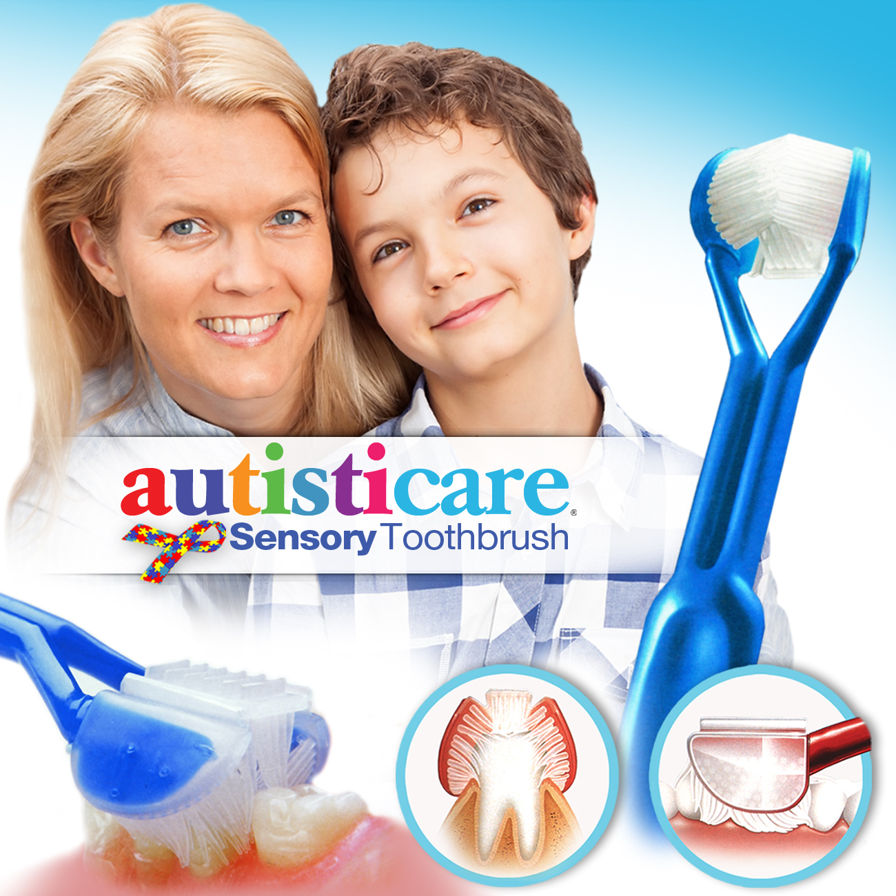 Autisticare Sensory Toothbrush :: Special Needs 3-Sided Toothbrush :: Fast, Easy & More Effective :: Complete Dental Care for Autism ASD Autistic ACT0001-EW