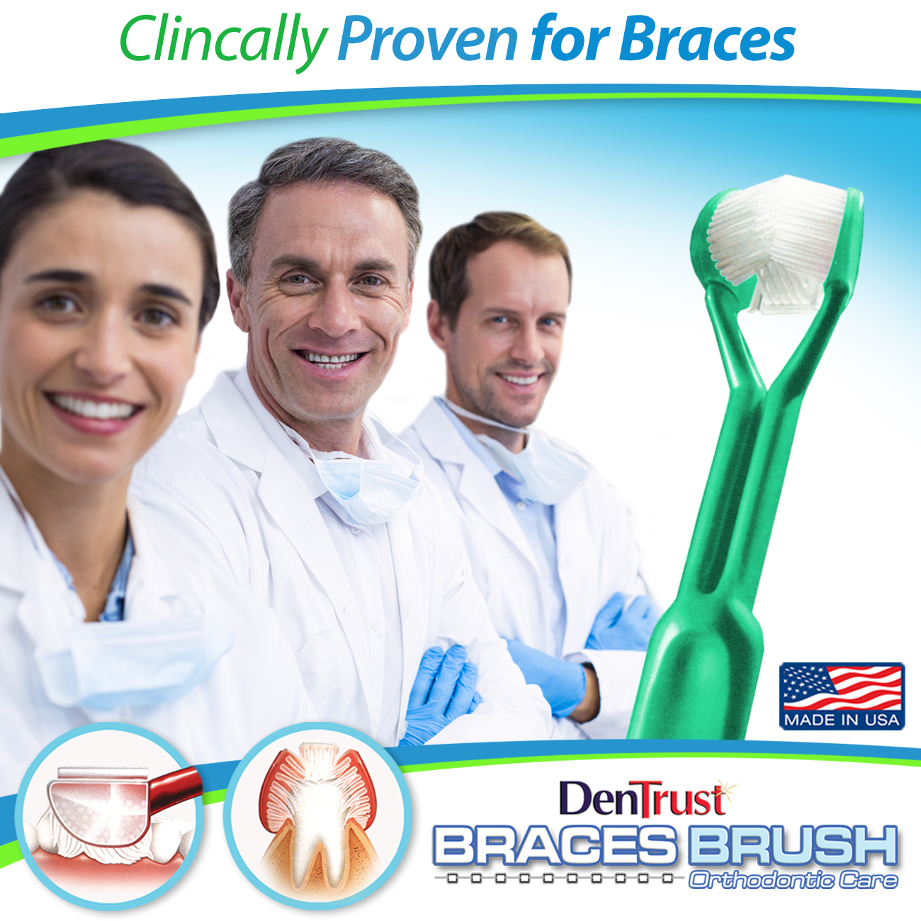 DenTrust BRACES BRUSH :: 3-Sided Toothbrush :: Clinically Proven to Remove More Plaque Around Dental Brackets Design :: Fast, Easy & More Complete Dental Care