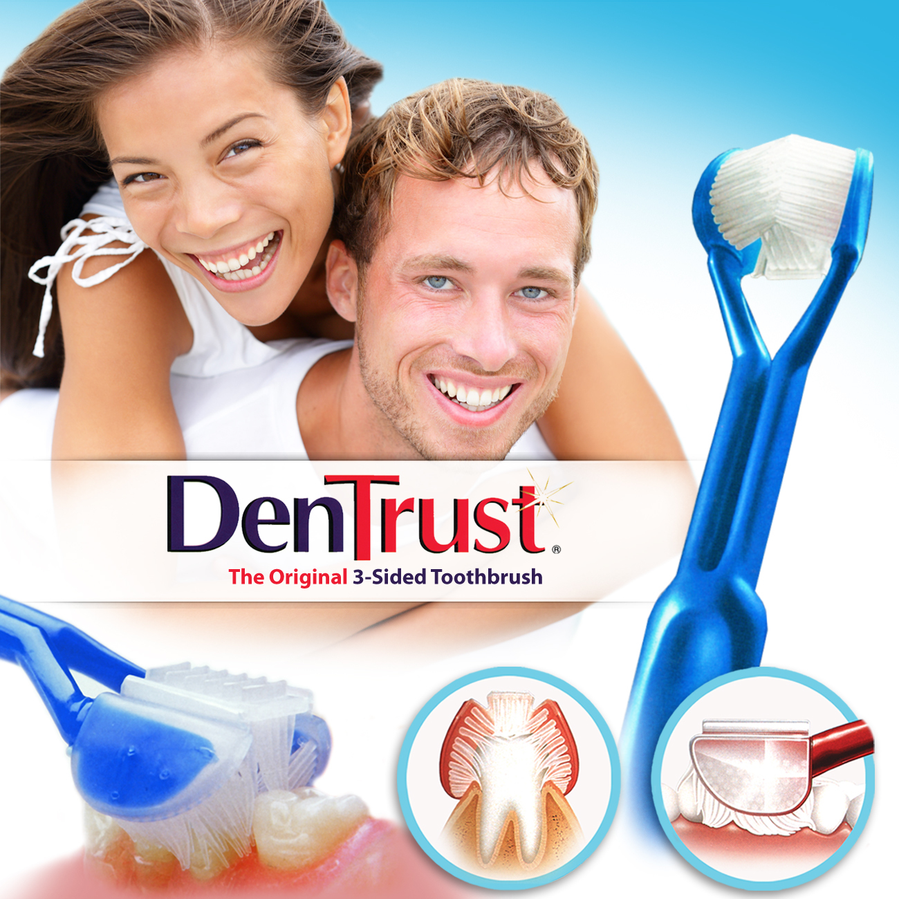 DenTrust 3-Sided Toothbrush :: Soft :: Wrap-Around Design for Complete Cleaning :: Fast, Easy & More Effective :: Clinically Proven DTS0001-EW