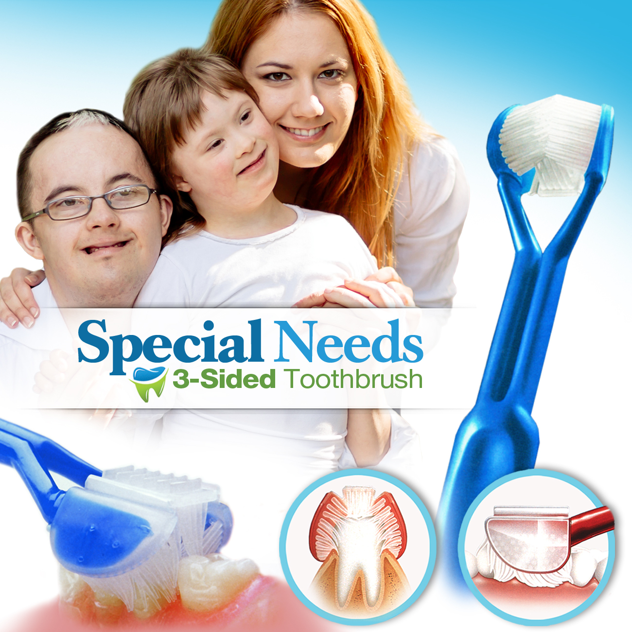 DenTrust SPECIAL NEEDS 3-Sided Toothbrush :: Wrap-Around Design for Complete Cleaning :: Fast, Easy & More Effective :: Caregiver's Assisted Brushing SNT0001-EW