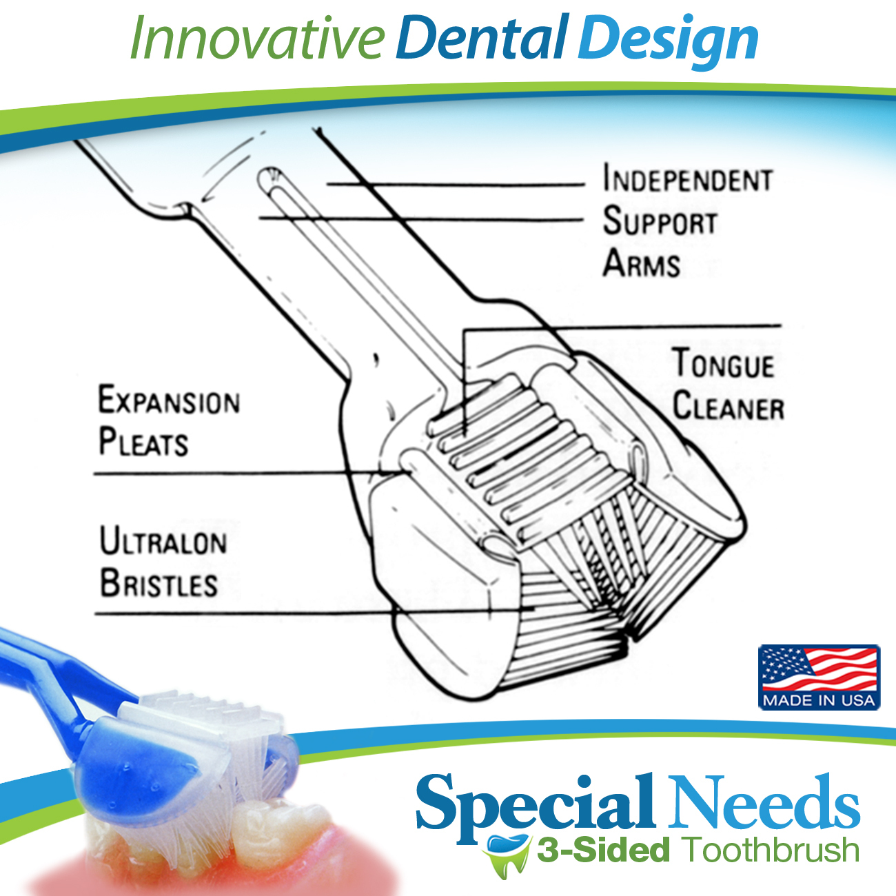DenTrust SPECIAL NEEDS 3-Sided Toothbrush :: Wrap-Around Design for Complete Cleaning :: Fast, Easy & More Effective :: Caregiver's Assisted Brushing