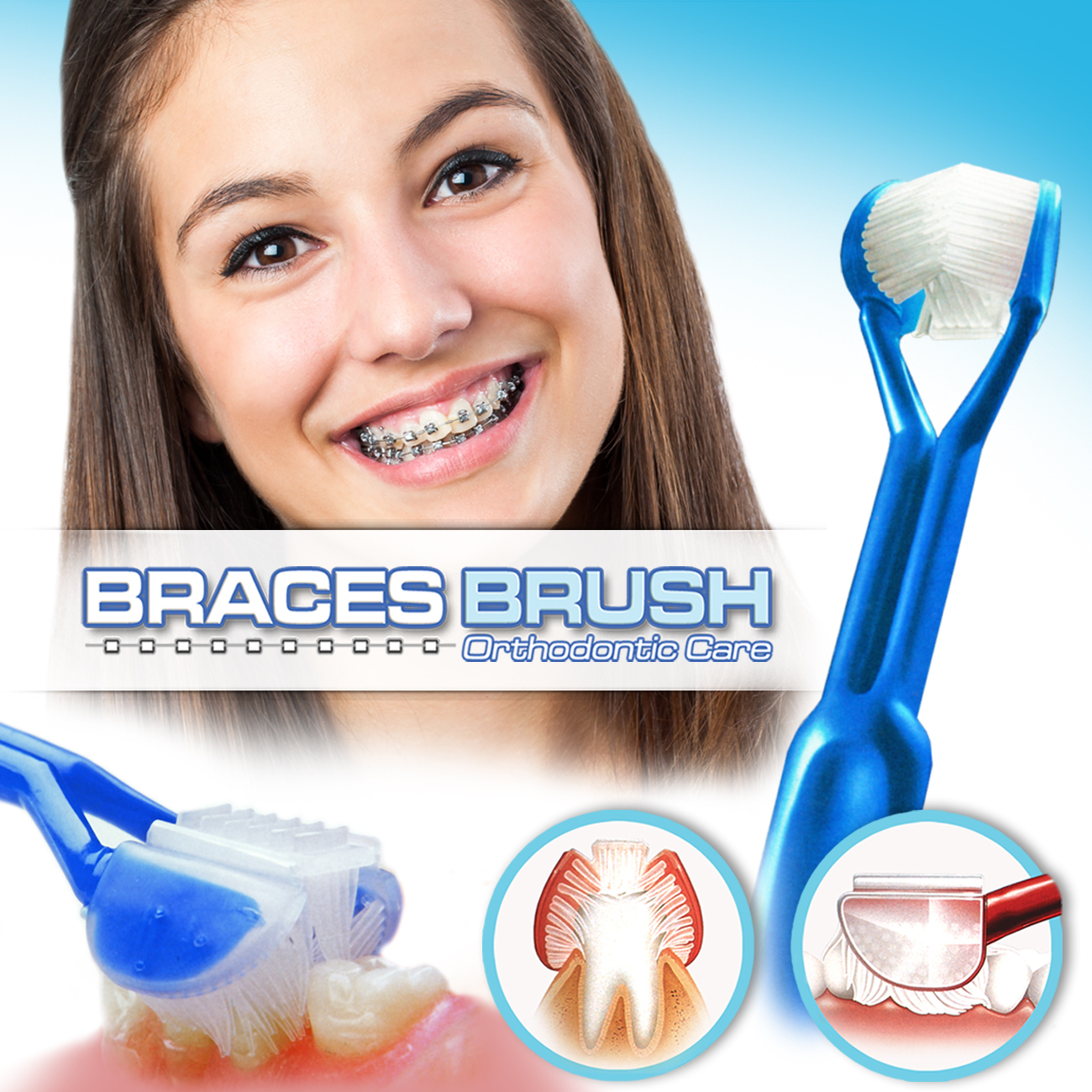 DenTrust BRACES BRUSH :: 3-Sided Toothbrush :: Clinically Proven to Remove More Plaque Around Dental Brackets Design :: Fast, Easy & More Complete Dental Care BRB0001-EW