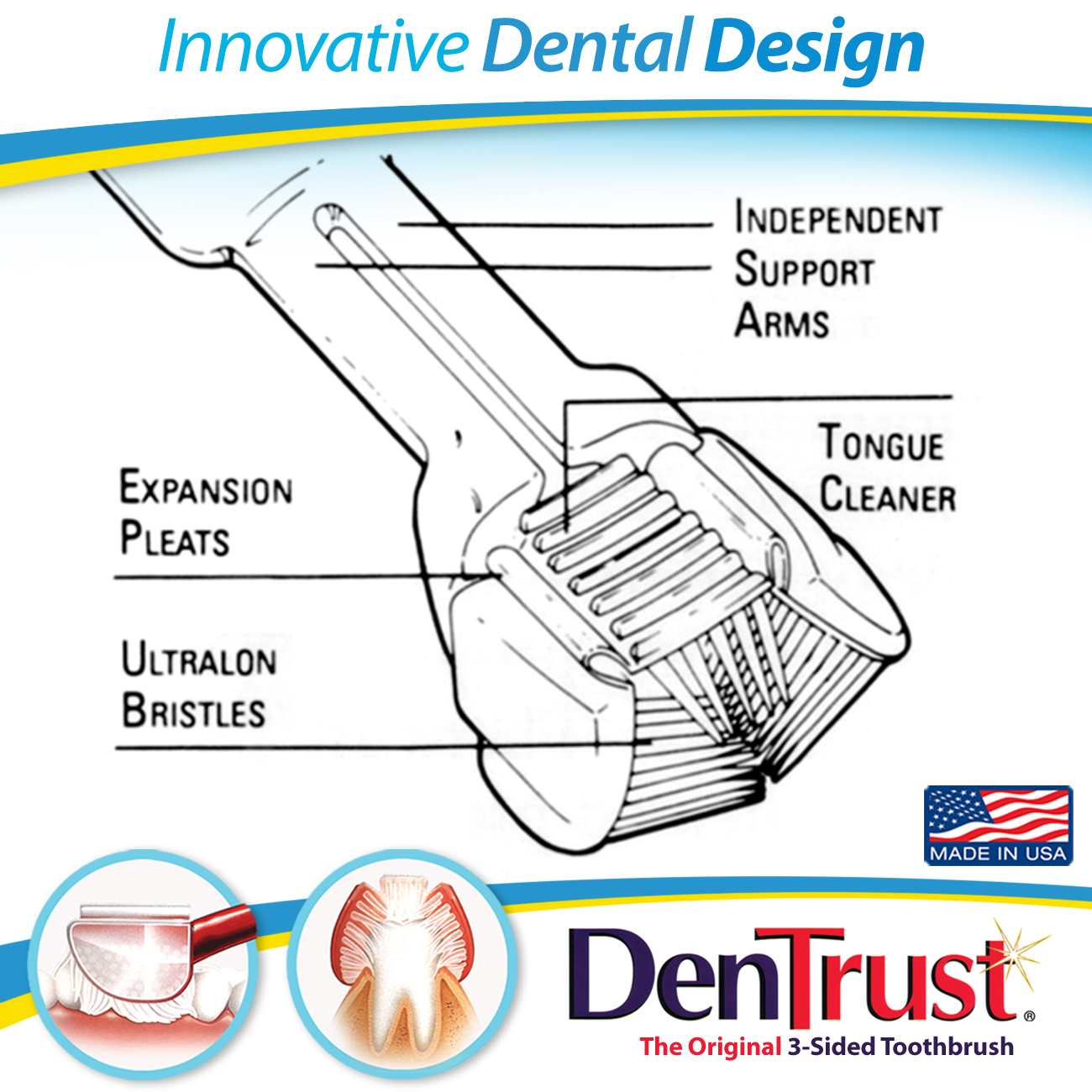 DenTrust 3-Sided Toothbrush :: Soft :: Wrap-Around Design for Complete Cleaning :: Fast, Easy & More Effective :: Clinically Proven