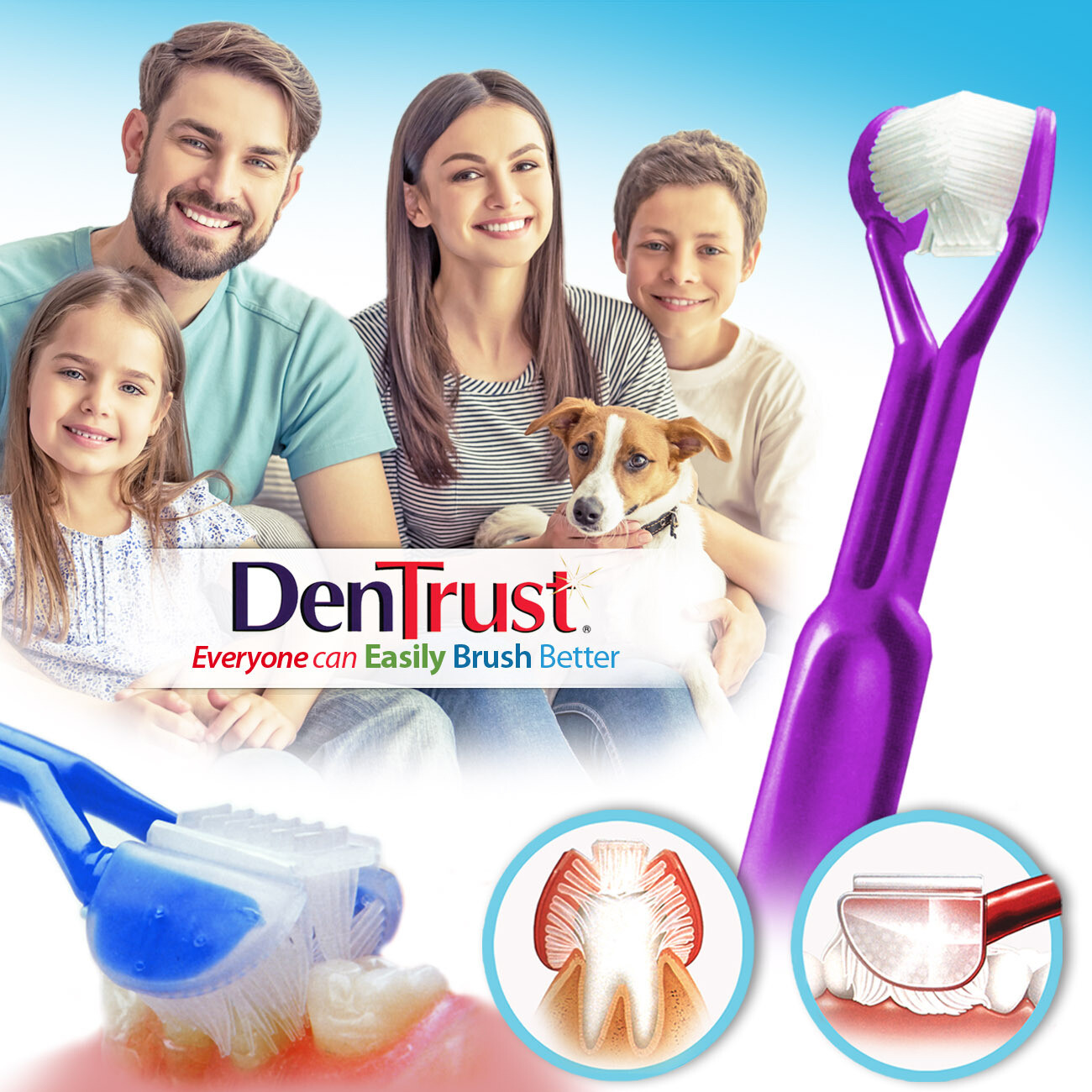 DenTrust 3-SIDED Toothbrush - Easily Brush Better - Clinically Proven Results  :: Fast, Easy & More Effective for the Whole Family - Adults, Teens, Children & Special Needs