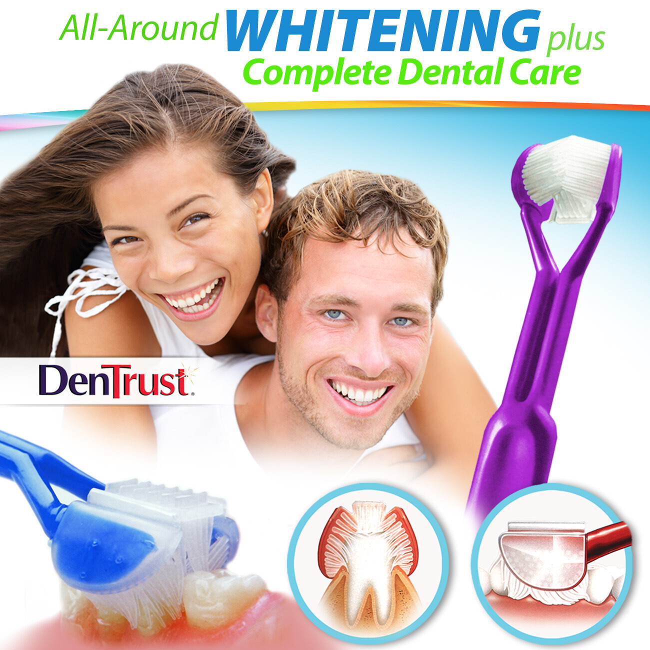 DenTrust WHITE-ON 3-Sided Whitening Toothpaste Applicator :: Easily & Evenly Apply Whitener's - Plus, Provide Complete Dental Care at the Same Time
