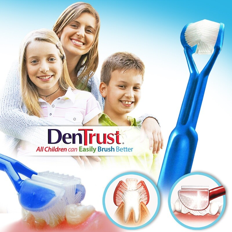 DenTrust 3-SIDED Toothbrush : All Children Can Easily Brush Better :: Clinically Proven Results :: Fast, Easy & More Effective for Youth Teens Children Child Special Needs Autism Braces