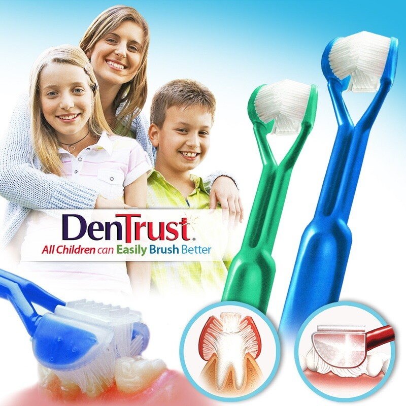 2-PK: DenTrust 3-SIDED Toothbrush : All Children Can Easily Brush Better :: Clinically Proven Results :: Fast, Easy & More Effective for Youth Teens Children Child Special Needs Autism Braces