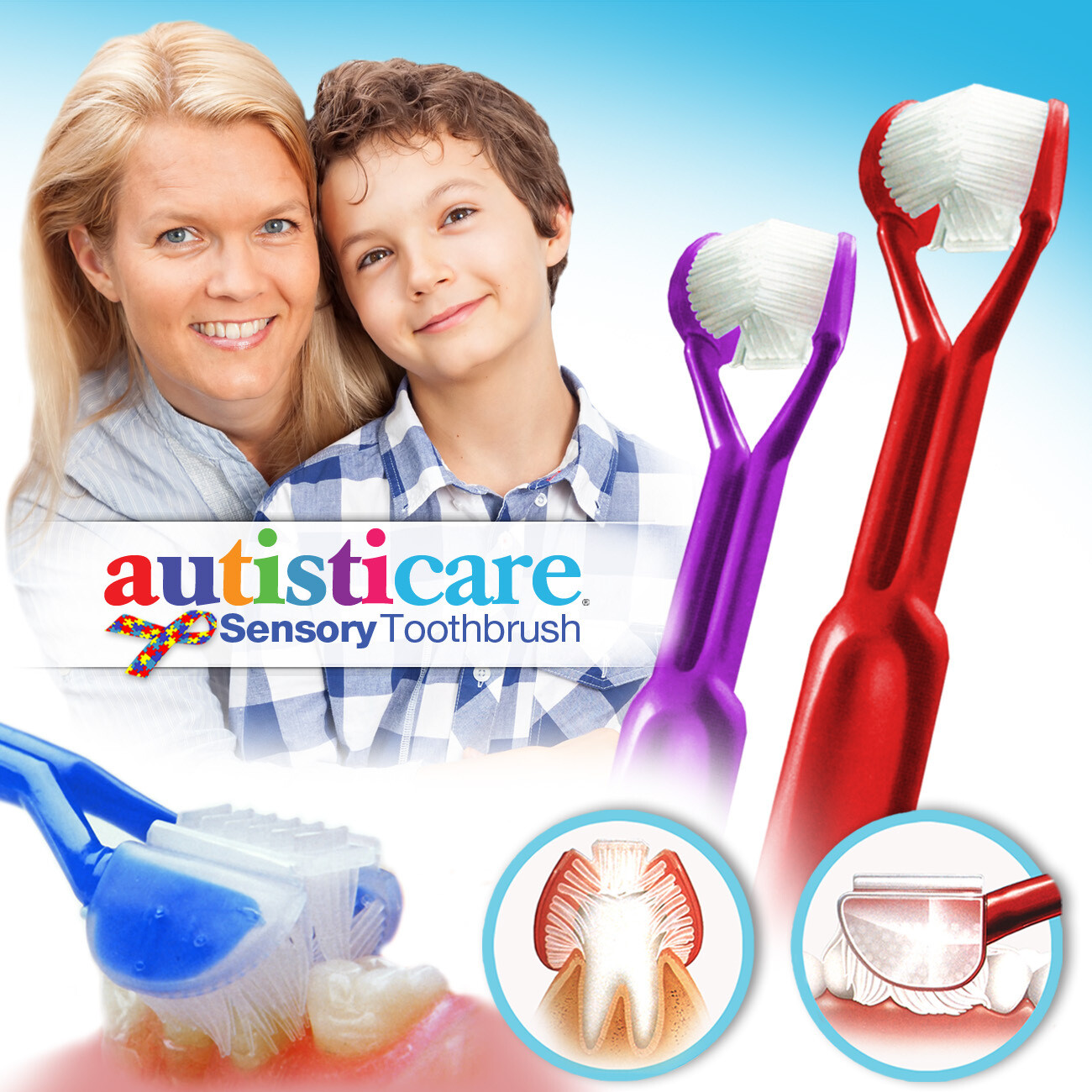 2-PK: Autisticare Sensory Toothbrush :: Special Needs 3-Sided Toothbrush :: Fast, Easy & More Effective :: Complete Dental Care for Autism ASD Autistic
