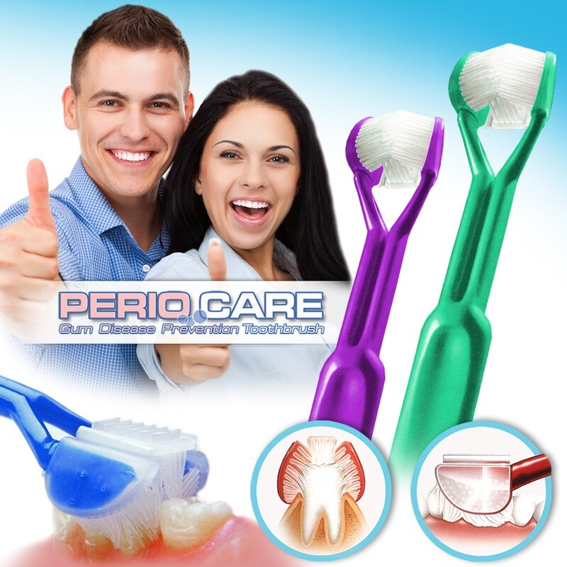 2-PK: DenTrust PERIOCARE 3-Sided Toothbrush :: Advanced Wrap-Around Design :: Fast, Easy & More Effective :: Clinically Proven to Remove More Plaque & Prevent Gum Disease
