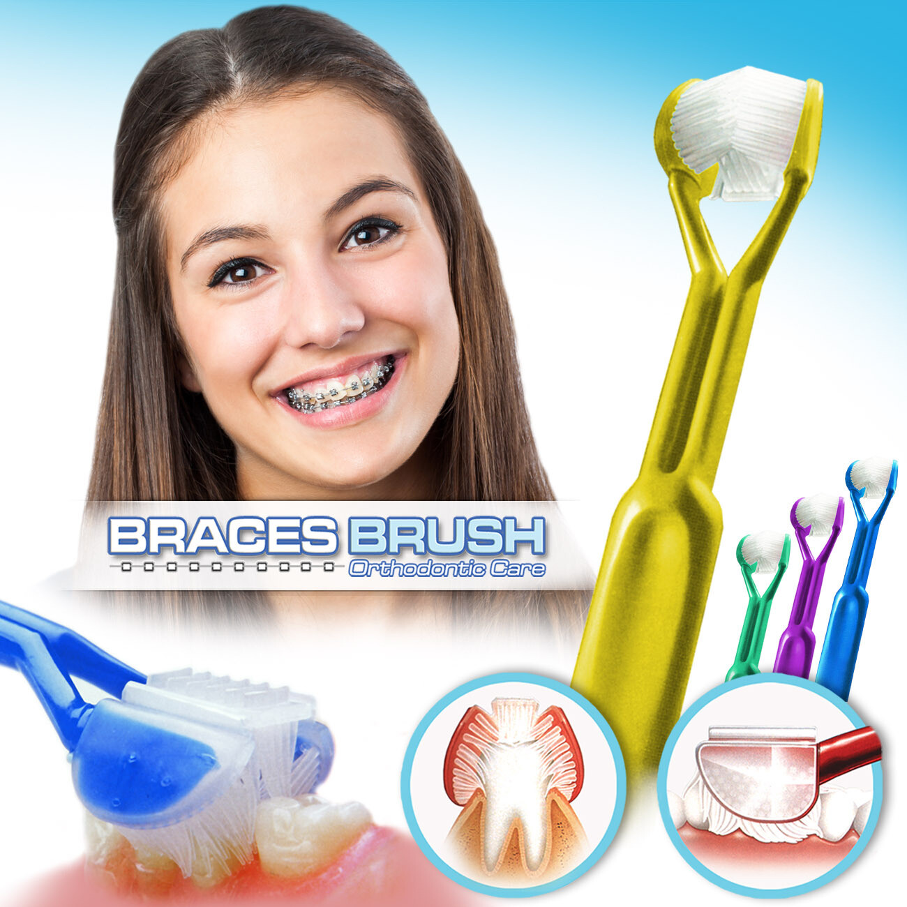 4-PK: DenTrust BRACES BRUSH :: 3-Sided Toothbrush :: Clinically Proven to Remove More Plaque Around Bracket's & Orthodontics :: Fast, Easy & More Complete Dental Care