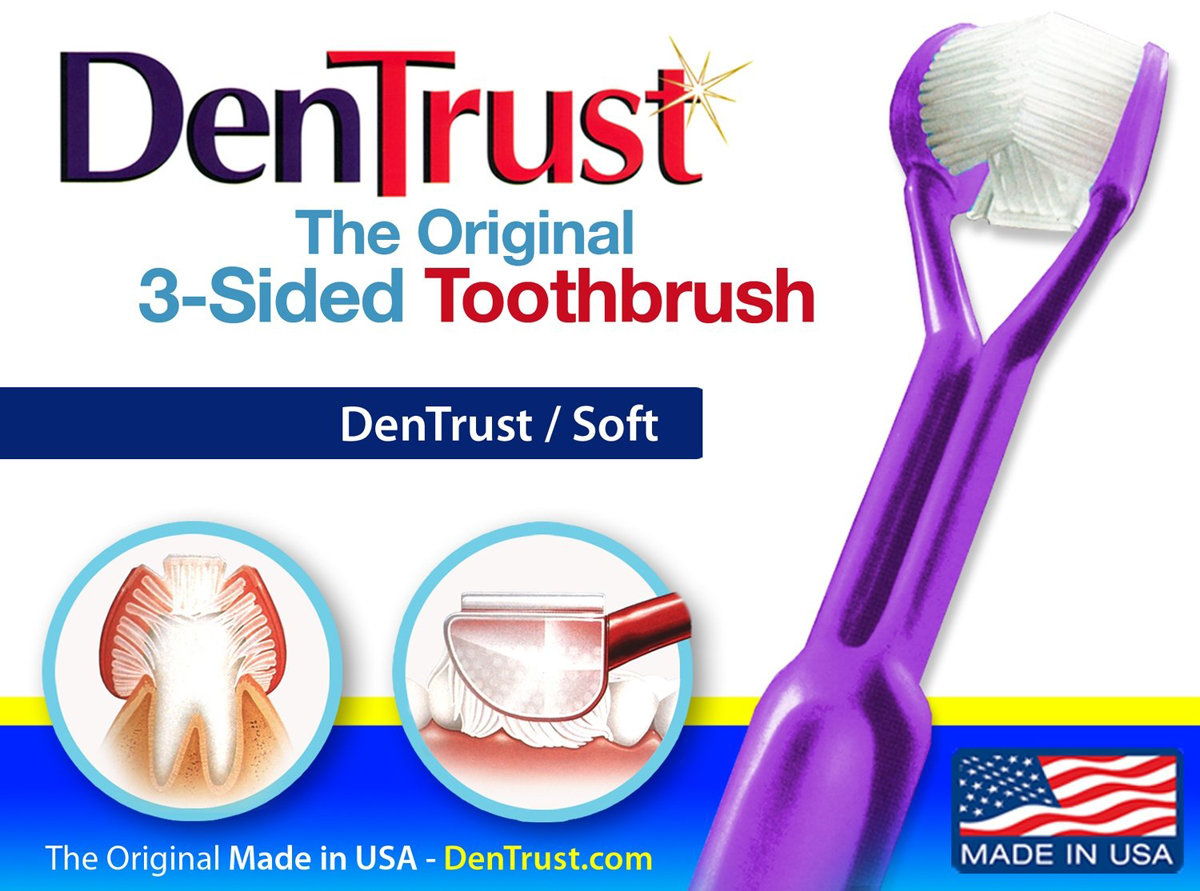 DenTrust 3-Sided Toothbrush :: Soft ::  Wrap-Around Design / Clinically Proven DenTrust Soft