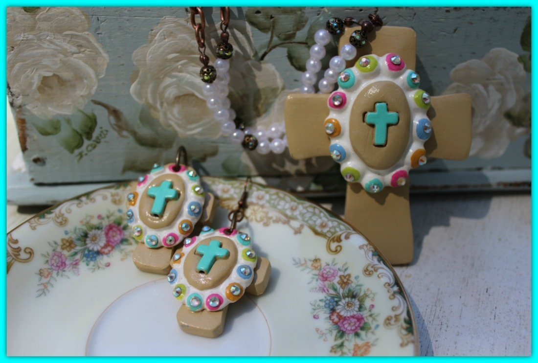 Faith In Spring Earrings - Hand-made Clay Cross with cabochon- Proudly Made In Alabama 00000165