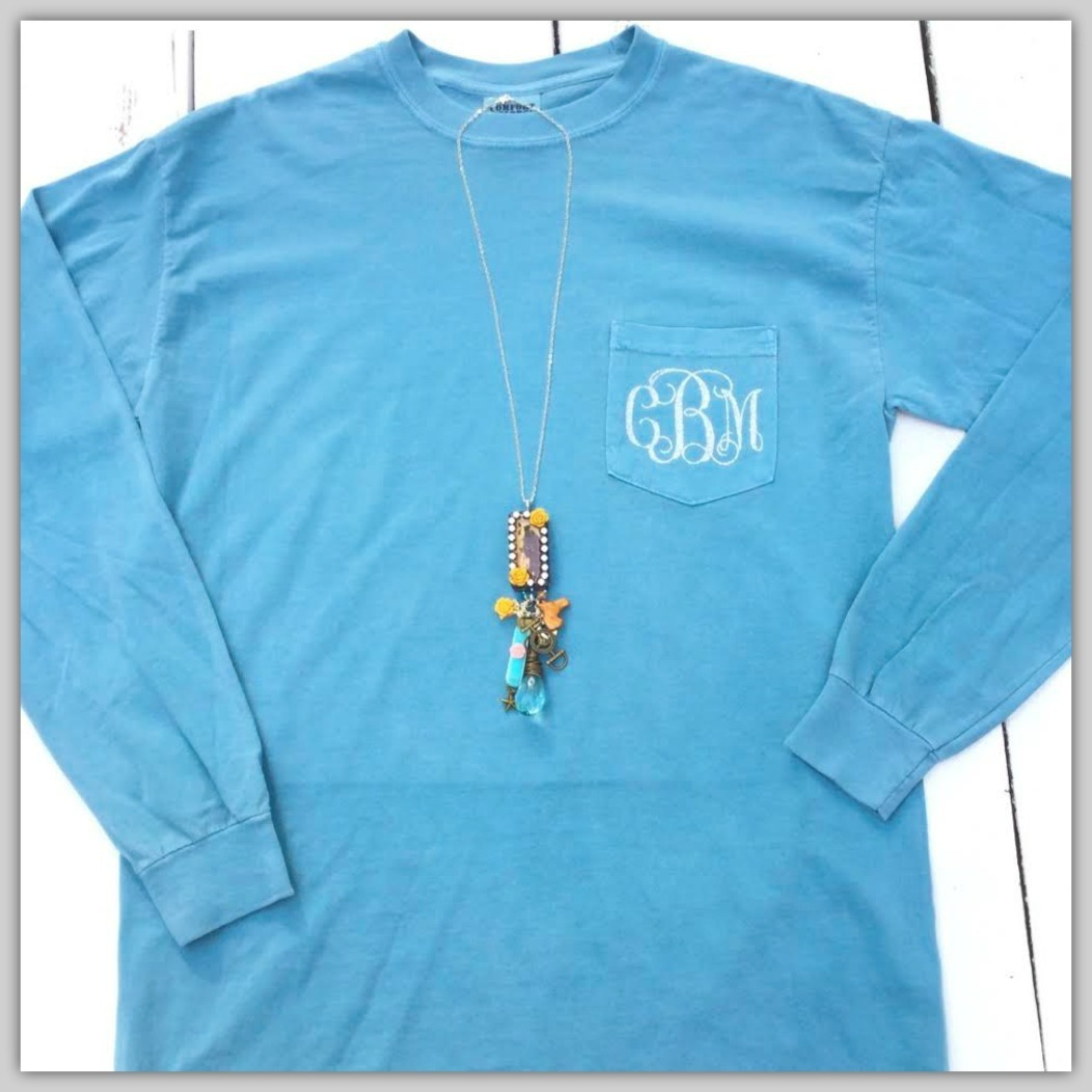 Custom Monogram Long Sleeve Comfort Colors Pocket Tee Ice Blue With