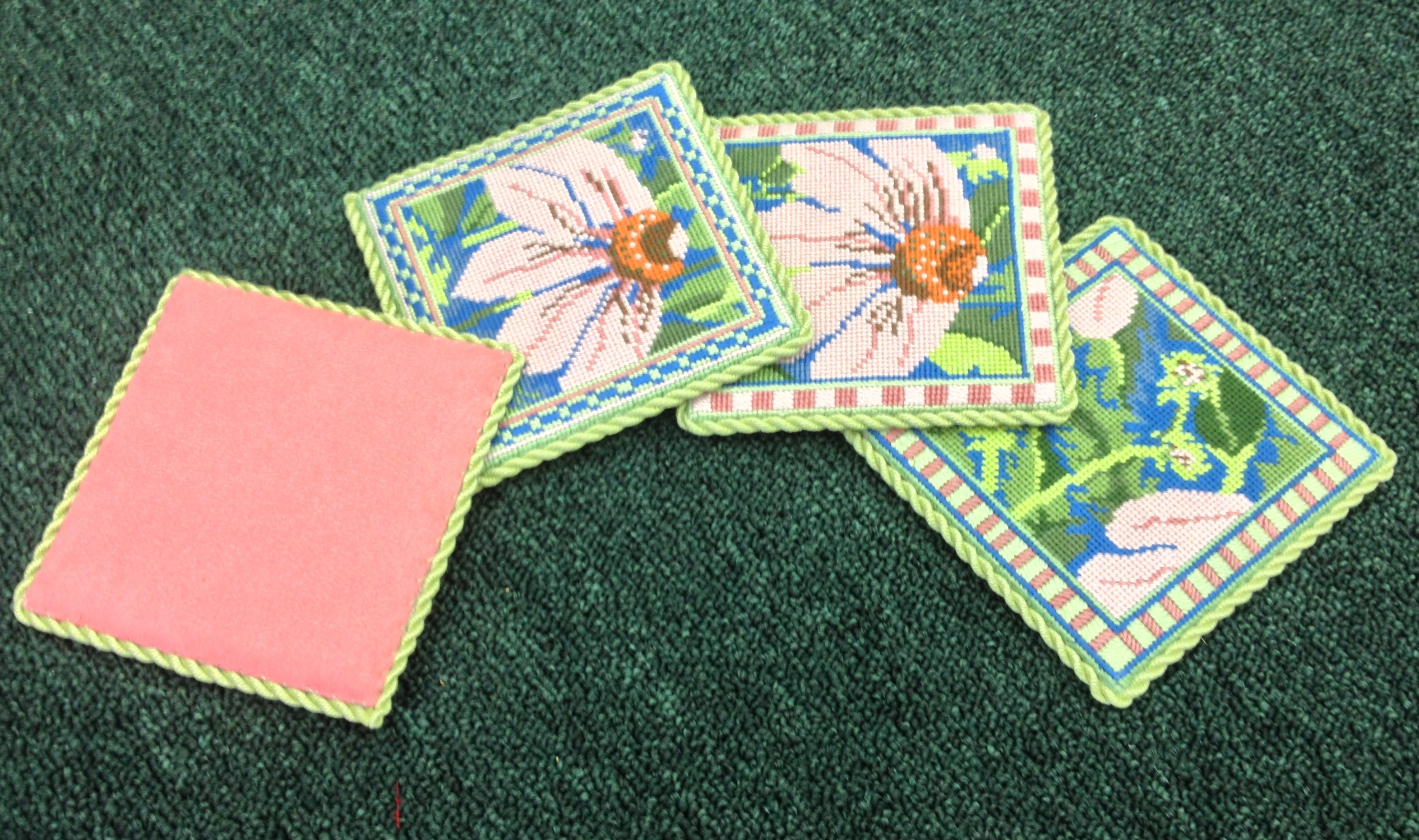 Coasters, Pink Echinacea, Set of 4 (Handpainted by Whimsy & Grace)