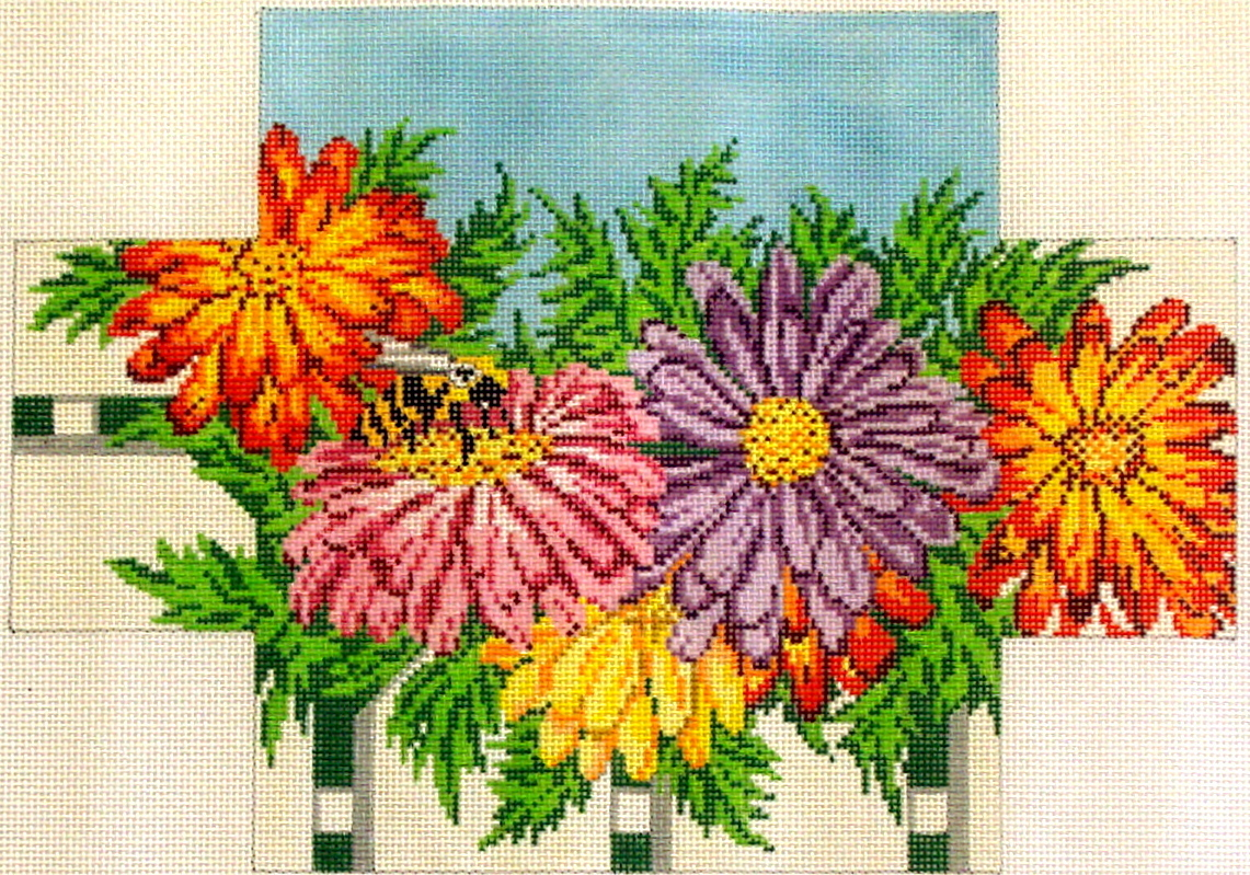 Mums & Bee Brickcover (handpainted from Needle Crossing) 19*2538