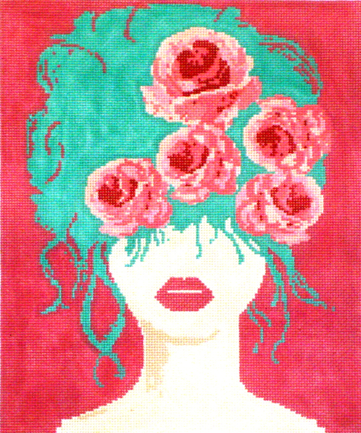Rose Girl    (stitched  painted needlepoint canvas from Viola) 19*BAG-421