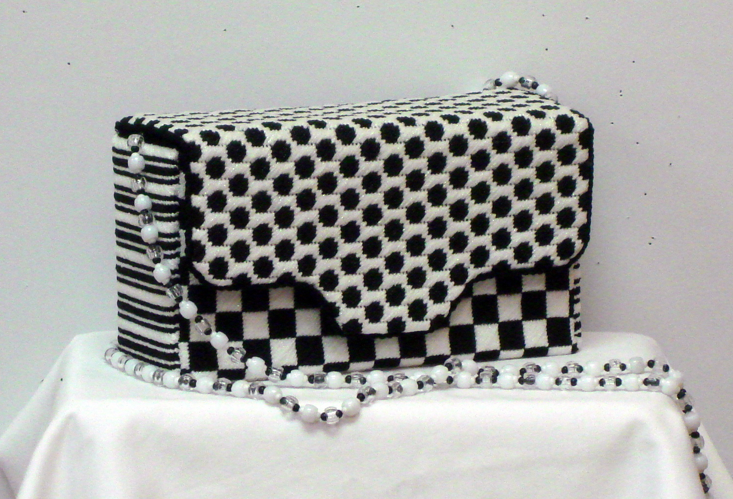 Black & White Graphics Brick Bag   (hand painted needlepoint canvas from JP Needlepoint)