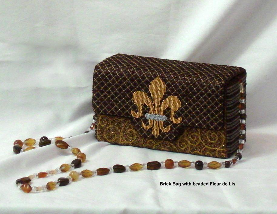 Fleur de Leis & Vines on Brown, Brick Bag (Handpainted by JP Needlepoint