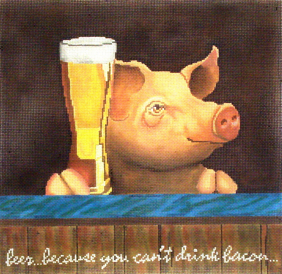 Pig with a Beer     (handpainted needlepoint canvas from CBK) 19*WB-PL09