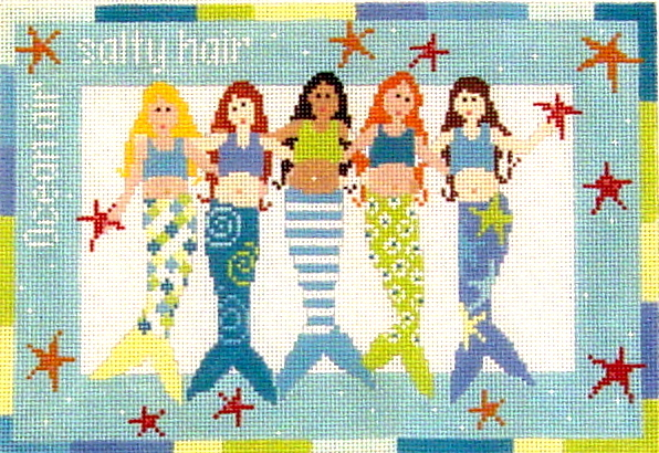 Mermaids    (hand painted needlepoint canvas from Pippin Studios) 19*P-F-019