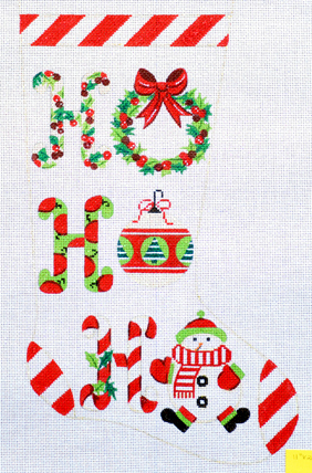Ho Ho Ho Stocking (Handpainted by Lees Needlearts) 18*XS7146